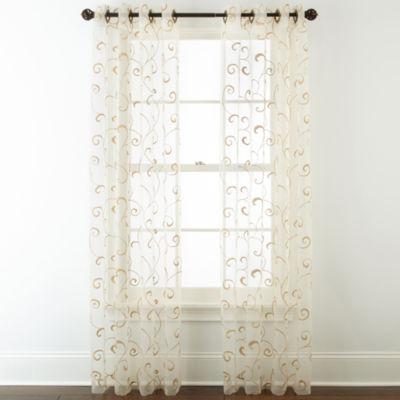 royal velvet plaza embroidered sheer grommettop curtain panel - Sheer Curtain Panels