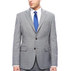 STF Travel Stretch Grey Blue Plaid Jacket Cls