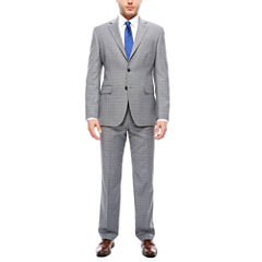 Stafford Travel Stretch Wool Blend Gray Blue Plaid Suit Separates- Classic Fit