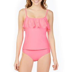 Arizona Lasercut Flounce Swimsuit Top-Juniors