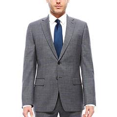 Claiborne Gray Windowpane Suit Separates- Slim Fit