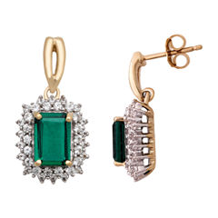 Lab Created Emerald 14K Gold Over Silver Stud Earrings