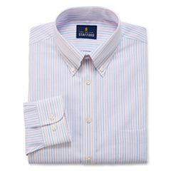 Stafford Travel Wrinkle-Free Oxford Long Sleeve Woven Stripe Dress Shirt