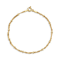 Made In Italy Womens 7 1/2 Inch 14K Gold Over Silver Chain Bracelet