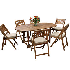 Outdoor Interiors 7pc Eucalyptus Fold and Store Dining Set with Cushions