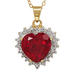 Lab-Created Ruby and 18K Yellow Gold Heart Pendant Necklace