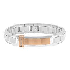 Mens Diamond-Accent Stainless Steel Rose-Tone IP ID Bracelet
