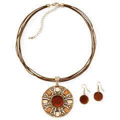 2-pc. Antique Gold-Tone Pendant Necklace & Earrings Jewelry Set