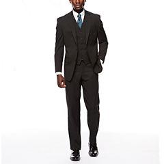 Izod Stretch Black Striped Suit Separate-Classic Fit