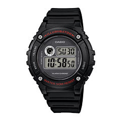 Casio® Illuminator Mens Black Bezel Black Resin Strap Digital Watch W216H-1AV