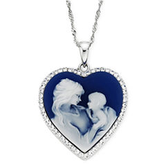 Blue Resin and Crystal Sterling Silver Cameo Heart Pendant Necklace