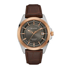 Bulova® UHF Precisionist Mens Brown Leather Strap Watch 98B267