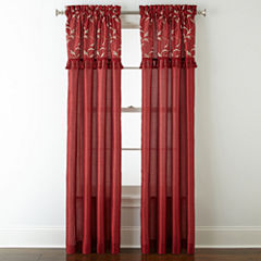 Royal VelvetR Encore Leaf Embroidery Rod Pocket Curtain Panel