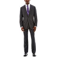 Claiborne Charcoal Herringbone Stretch Suit-Classic Fit