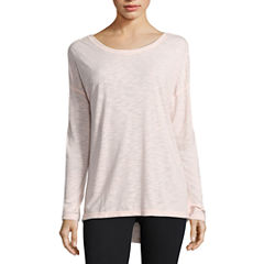 Xersion Long Sleeve Scoop Neck T-Shirt-Womens Talls