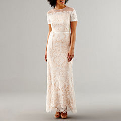 Melrose Short Sleeve Wedding Gown