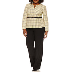 Isabella Long Sleeve 2-pc. Pattern Pant Set-Plus
