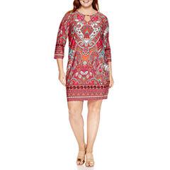 Tiana B 3/4 Sleeve Paisley Sheath Dress-Plus