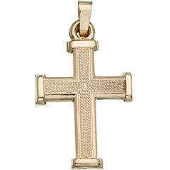 14K Yellow Gold Matte Cross Charm