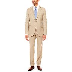 Stafford Travel Stretch Khaki Sharkskin Suit Separates- Classic Fit