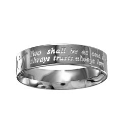 Mens Stainless Steel Inscribed Wedding Band
