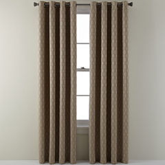 StudioTM Luna Grommet Top Lined Textured Blackout Curtain Panel