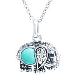 Silver Treasures Womens Blue Pendant Necklace