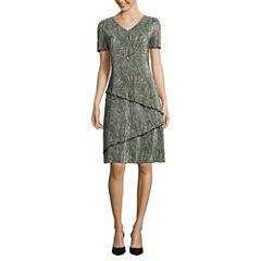Connected Apparel Short Sleeve Leaf Shift Dress