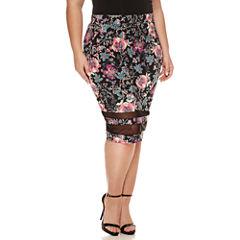 Boutique + Mesh Insert Pencil Skirt - Plus