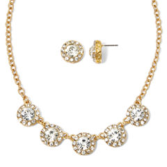 Monet® Crystal-Accent Gold-Tone Necklace and Earring Set