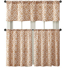 Madison Park Ella Diamond-Printed Rod-Pocket Kitchen Window Tiers
