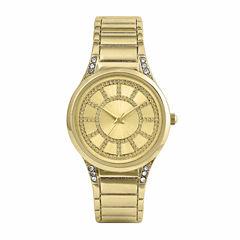 Mixit® Womens Gold Glitter Bangle Watch