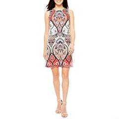 London Style Sleeveless Pattern Shift Dress