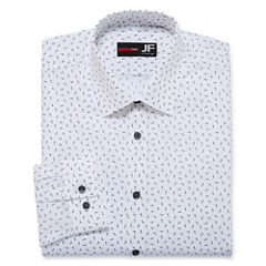 JF J.Ferrar Easy-Care Stretch Long Sleeve Woven Dots Dress Shirt