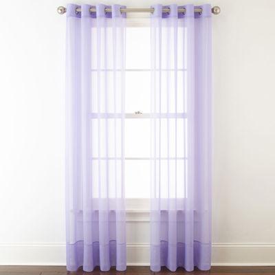 liz claiborne lisette grommettop sheer curtain panel - 63 Inch Curtains