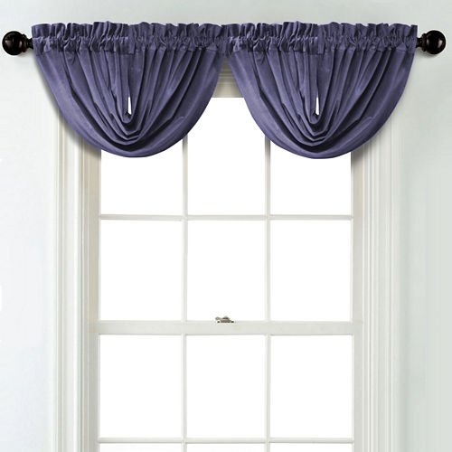 JCPenney Home Velvet Rod Pocket Poly-Cotton Lined Waterfall Valance