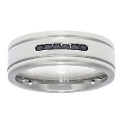 Mens Cubic Zirconia Stainless Steel Band Ring