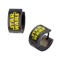 Star Wars® Black Stainless Steel Logo Hoop Earrings