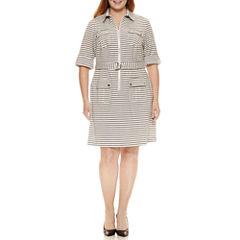 Sharagano 3/4 Sleeve Zip Front Stripe Shirt Dress-Plus