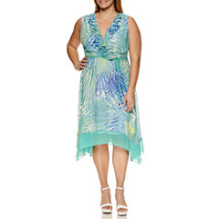 Studio 1 Sleeveless Ruffle Front Fit & Flare Dress-Plus