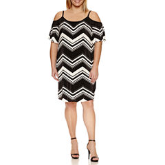 Danillo Short Sleeve Cold Shoulder Sheath Dress-Plus
