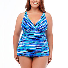 Jamaica Bay® Artist's Stripe Tankini Swim Top or Ruffle Hem Skirt Swim Bottoms