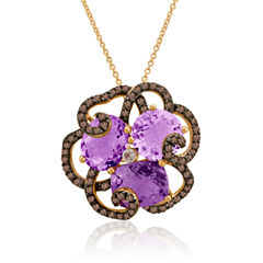 LIMITED QUANTITIES Grand Sample Sale™ by Le Vian® Grape Amethyst™, Chocolate Quartz® & Vanilla Topaz™ 14K Strawberry Gold® Le Vian Crazy Collection® Pendant Necklace