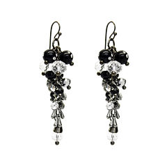 Aris by Treska Black Silver-Tone Cluster Drop Earrings