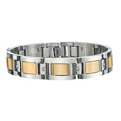Mens 1/7 CT T.W. Diamond Stainless Steel Chain Bracelet
