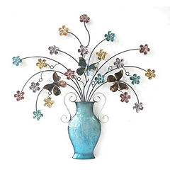 Vase with Multi Tiny Flowers Wall Decor