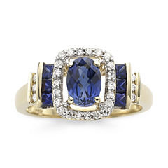 1/7 CT. T.W. Diamond & Genuine Blue Sapphire 10K Gold Ring