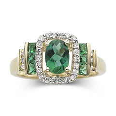 1/7 CT. T.W. Diamond & Emerald 10K Gold Ring