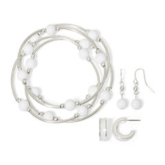 Mixit™ White Bead Silver-Tone 3-pc. Bracelet and Earrings Set