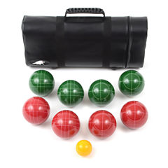 Lion Sports Bocce Ball Set 107 Mm  Ball with TapeMsr & Leather Tube Carry Bag